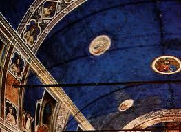 One of the earliest examples of the power of Ultramarine, The breathtaking ceiling of the Scrovegni Chapel, by Giotto compl 1305