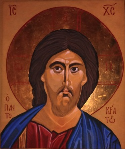 Christ Pantocreter Icon by Francesca Howard, egg tempera and gold leaf on wood,