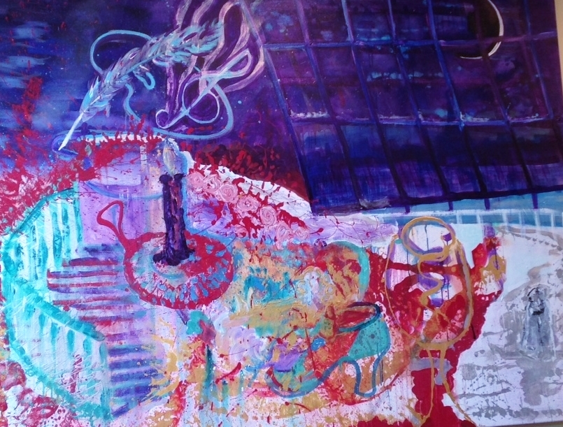 LA BOHÈME, acrylic on canvas, 5'2.9'' x 6'6.7'' - 160 cm x 200 cm, £1,200.00
