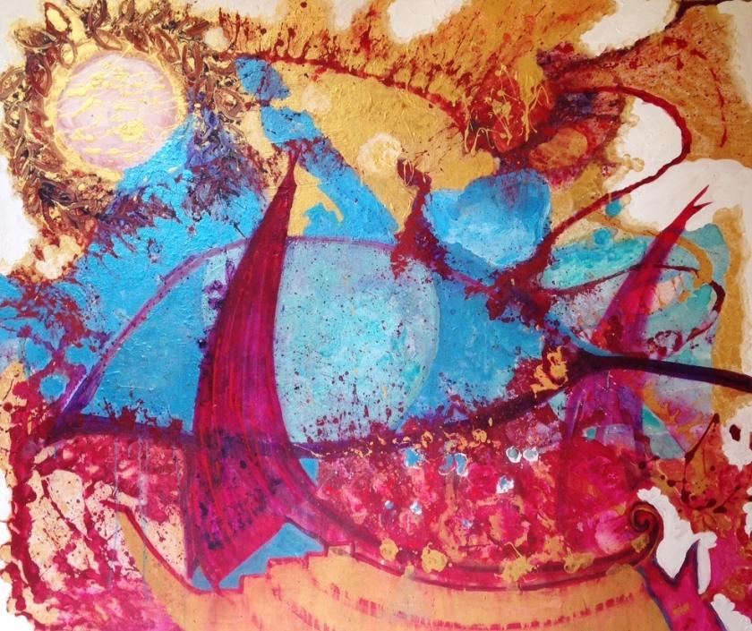 """ANTONY and CLEOPATRA by Francesca Howard, acrylic on canvas, 3'11"""" x 4'7'' - 120 x 140cm, £700.00"""