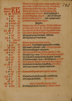 The opening calendar of a Roman Missal, 1484, with the important dates marked in red
