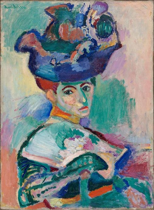 WOMAN WITH A HAT Matisse, 1905, oil on canvas, 2'8'' x 2'1½'' – 81 x 65cm, San Francisco, Museum of Modern Art