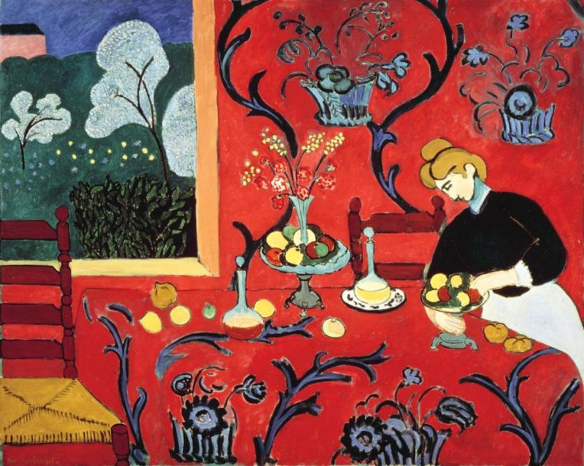 HARMONY IN RED - RED ROOM, Matisse, 1908, oil on canvas, 5'11'' x 7'3'' - 1.8 x 2.2m Hermitage, St Petersburg