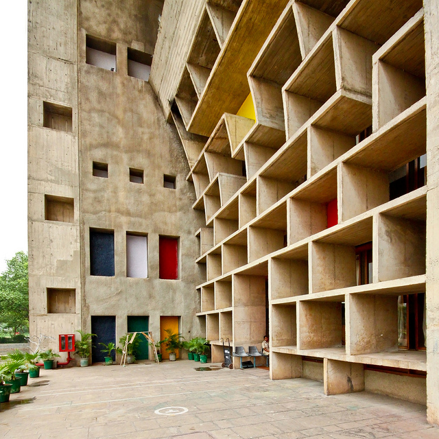 The Secretariat, Chandigarh, Punjab, Le Corbusier, 1950s, via Wikicommons via www.designtripper.com
