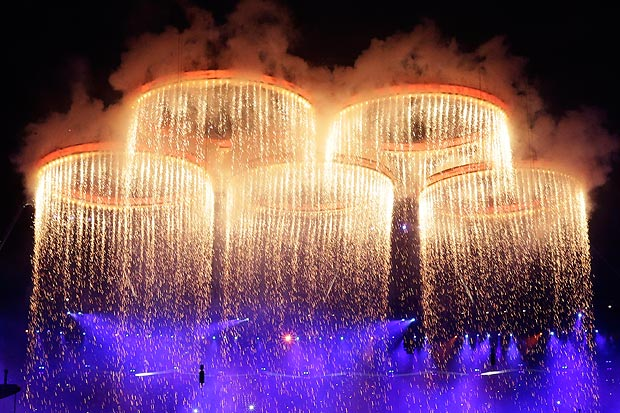 The flaming Olympic rings in Danny Boyle's extravaganza of an opening for the 2012 games in London