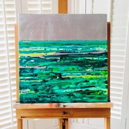 'Emerald Seas', oil and acrylic over imitation silver leaf, 40cm x 40cm
